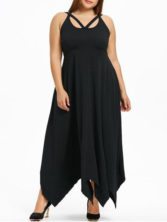 30% OFF] 2019 Plus Size Lace Up Maxi Handkerchief Dress In BLACK | ZAFUL