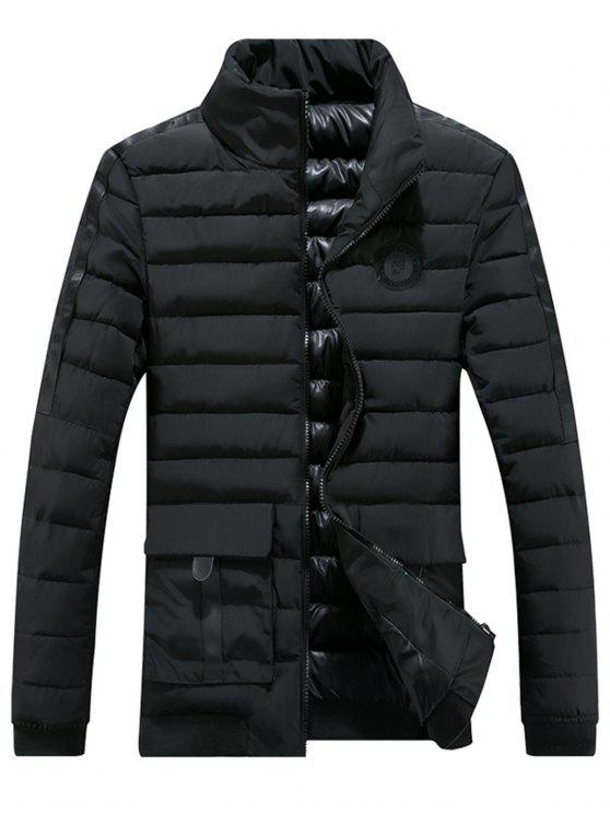 fashion Chest Patched Zip Up Puffer Jacket - BLACK 3XL