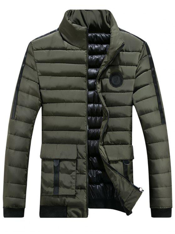Brust gepolsterte Jacke mit Reißverschluss - Grün 3XL