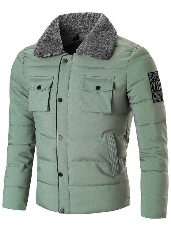 shops Zip Up with Snap Button Closure Winter Jacket - GREEN 3XL