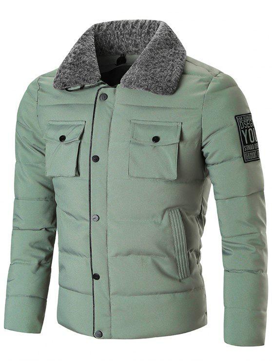 Veste D'hiver Zippée avec Fermeture à Boutons-Pression - Vert 2XL