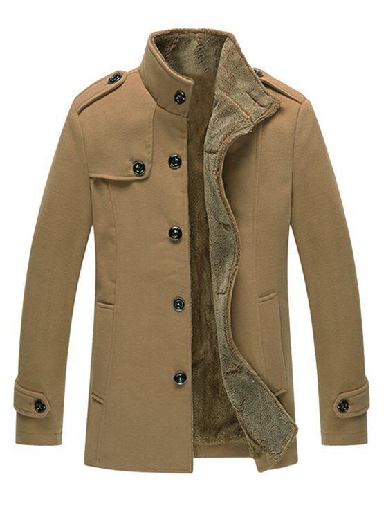 Epaulet verziert Singe Breasted Fleece Jacke - Khaki 3XL