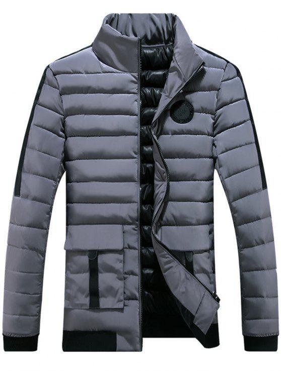 Brust gepolsterte Jacke mit Reißverschluss - Grau 2XL