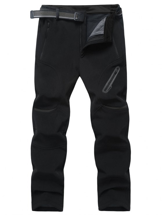 Pantaloni In Pile Con Tasche A Zip - Nero 3XL