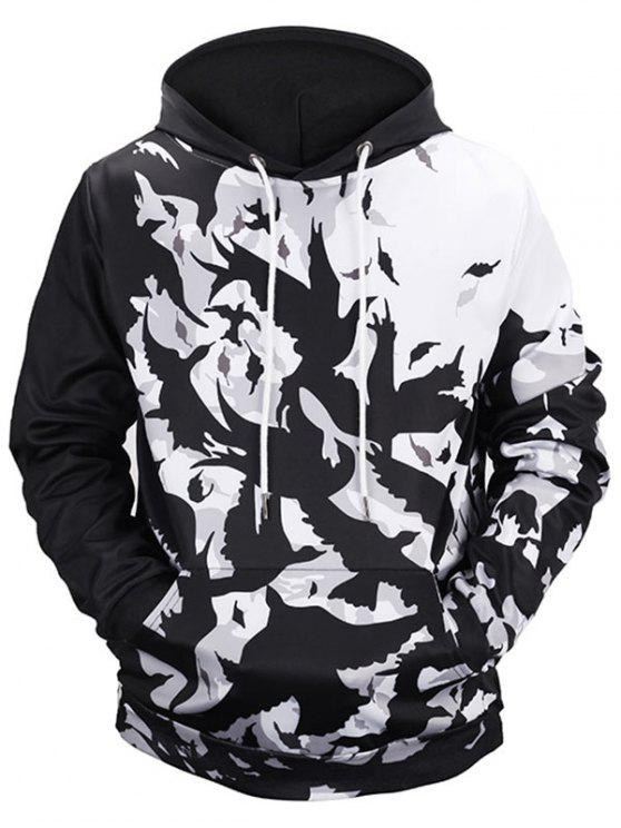 best Kangaroo Pocket Birds Print Hoodie - WHITE AND BLACK L