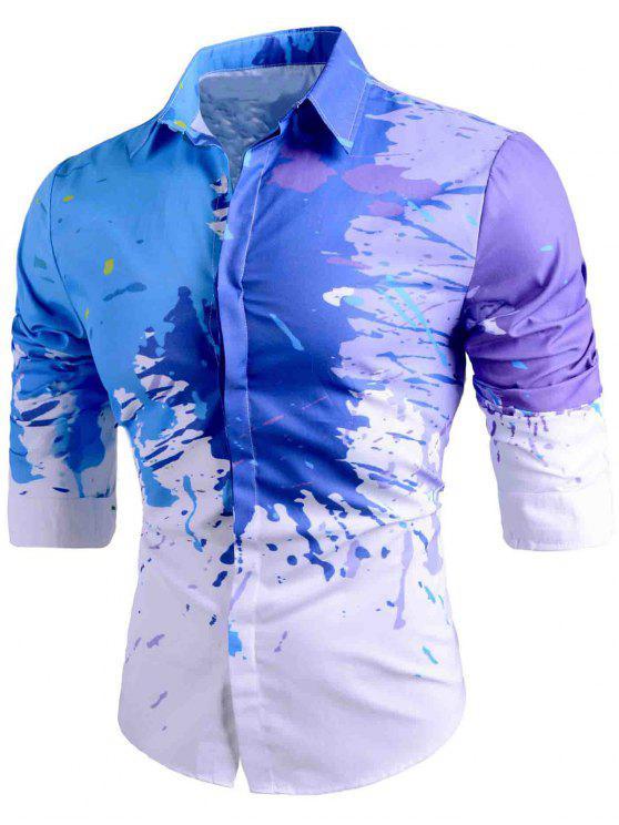 ضئيلة تناسب زر حتى رش الطلاء قميص - أبيض 2XL