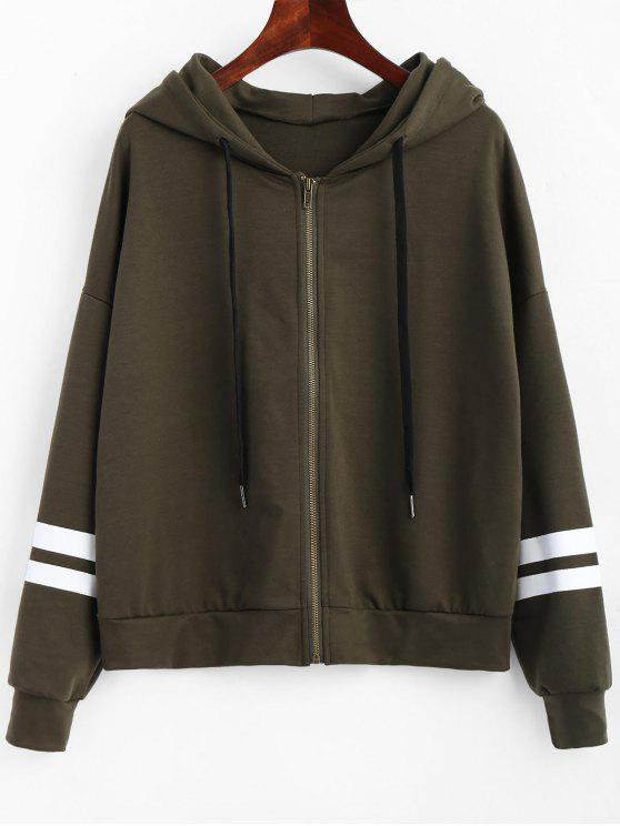 Zip Up Striped Drawstring Hoodie - Verde del ejército XL
