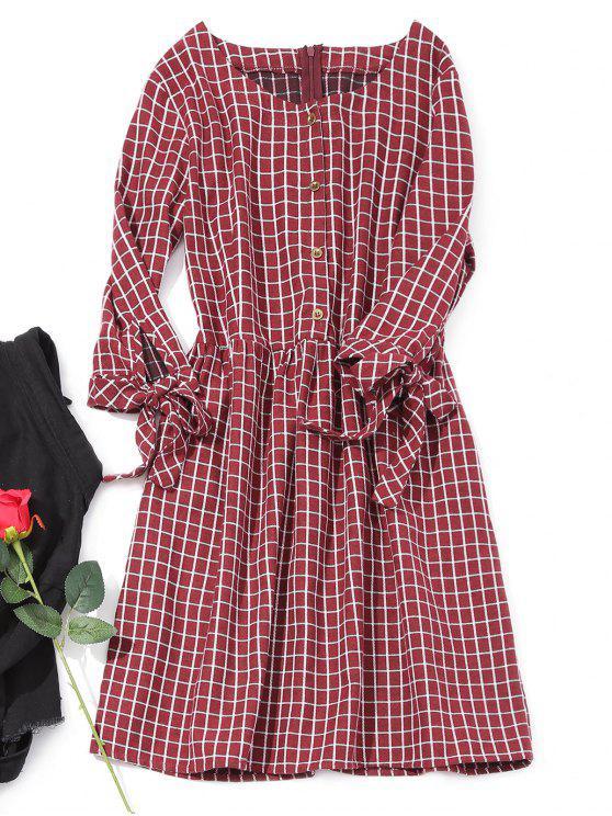 Robe Mi-longue à Carreaux à Demi Boutonné - Rouge vineux  M