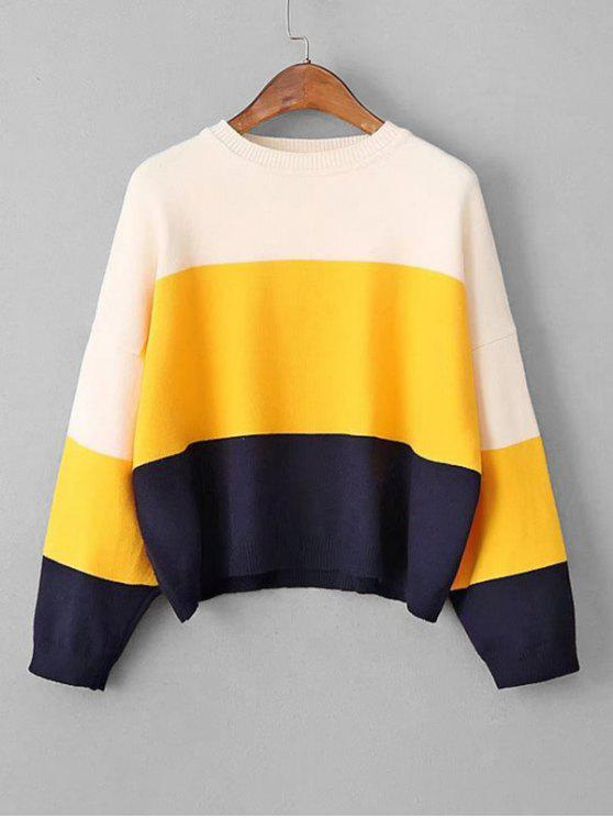 online Crew Neck Color Block Cropped Sweater - YELLOW ONE SIZE