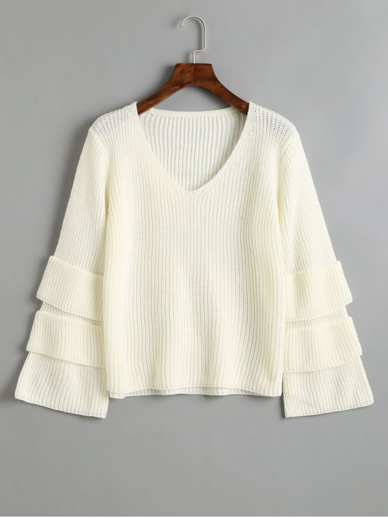 new Pullover Layered Sleeve V Neck Sweater - WHITE ONE SIZE
