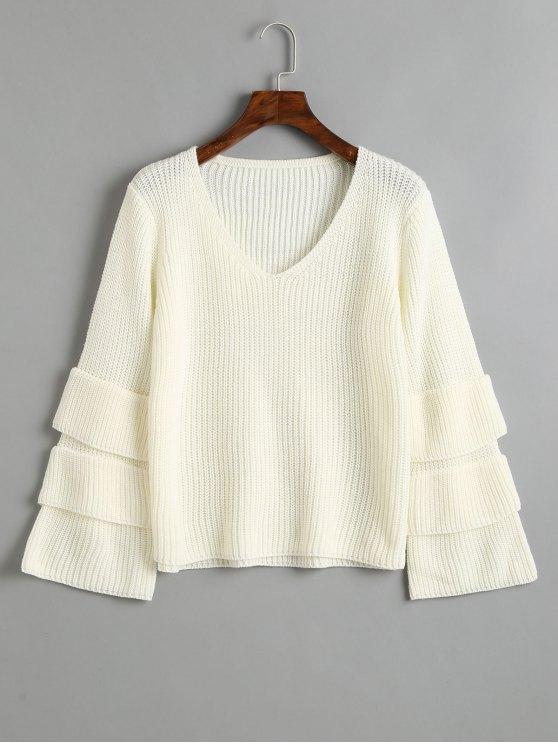 Jersey con cuello en V y manga jersey en capas - Blanco Talla única