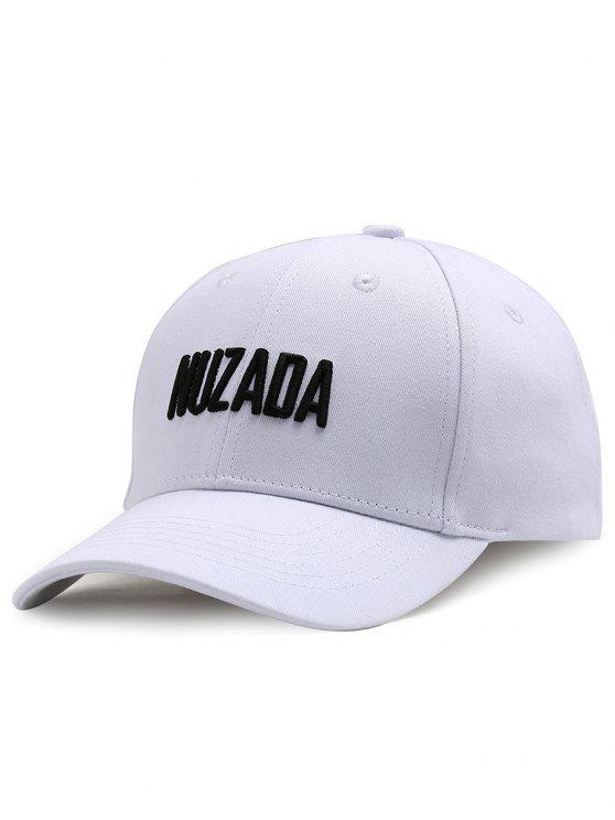 NUZADA Chapéu de Basebol Ajustável com Bordado de Padrão da Letra para ao Ar Livre - Branco