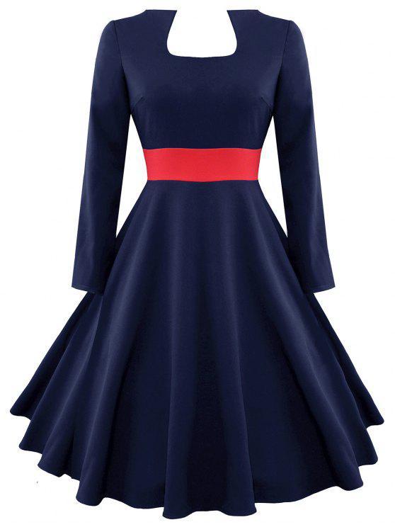 Color Block Vintage Long Sleeve Dress - PURPLISH BLUE 2XL
