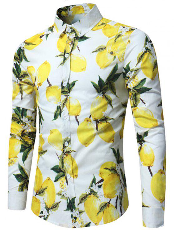 الليمون طباعة قميص كم طويل - أبيض XL