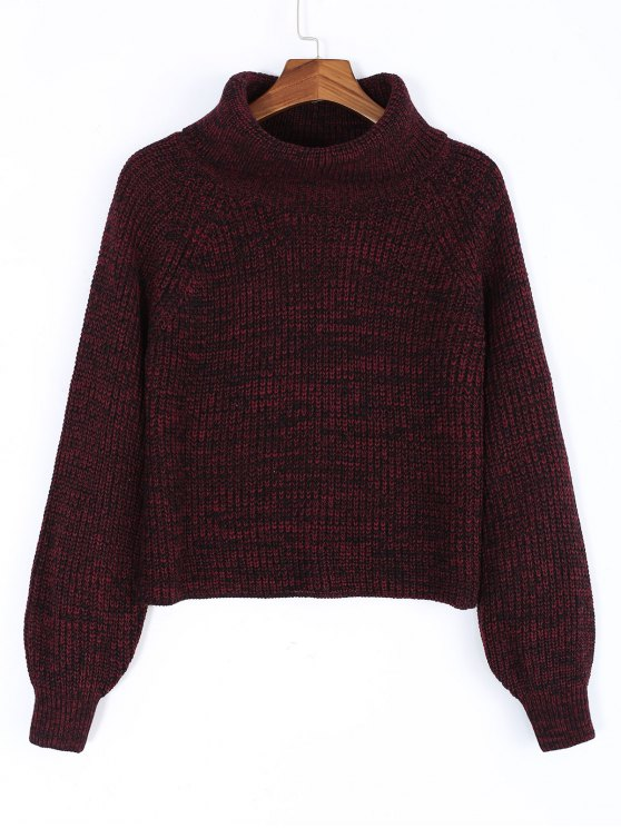 outfit Turtleneck Heathered Pullover Sweater - WINE RED ONE SIZE