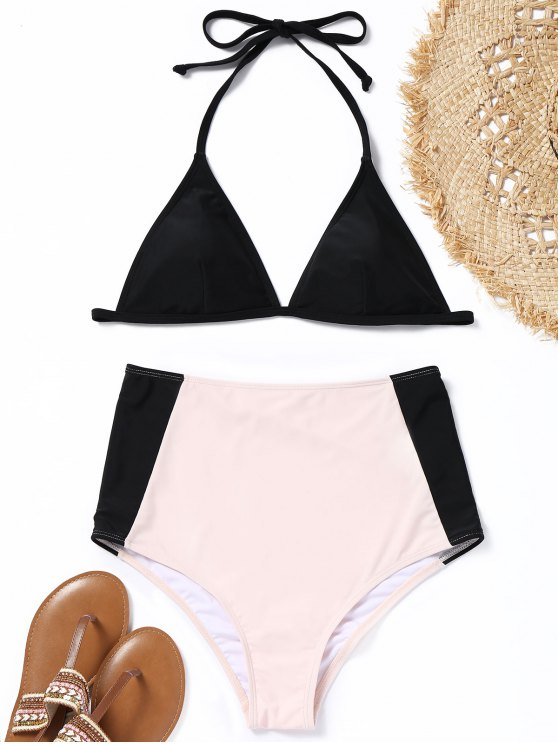 fancy Padded Two Tone High Waisted Bikini Set - BLACK AND PINK L