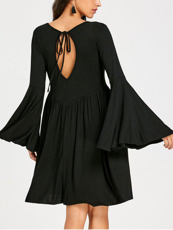 bell sleeve ausgeschnittenes mini swing kleid schwarz langarmkleider m zaful. Black Bedroom Furniture Sets. Home Design Ideas