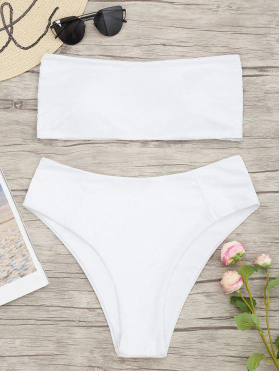 Biquini Frente Unica Plus Size com Recorte Alto - Branco 4XL