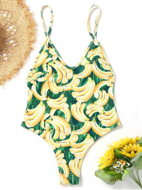 Traje de baño de corte alto con estampado de banana - Colores Mezclados M