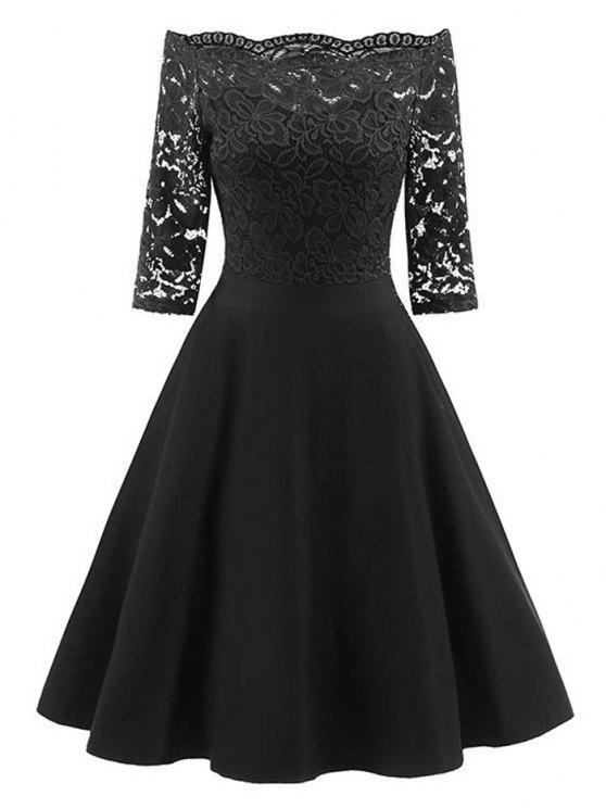 d181037e148 24% OFF] 2019 Lace Panel Off The Shoulder Vintage Flare Dress In ...