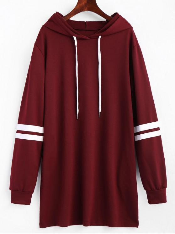 best Striped Longline Drawstring Hoodie - WINE RED XL