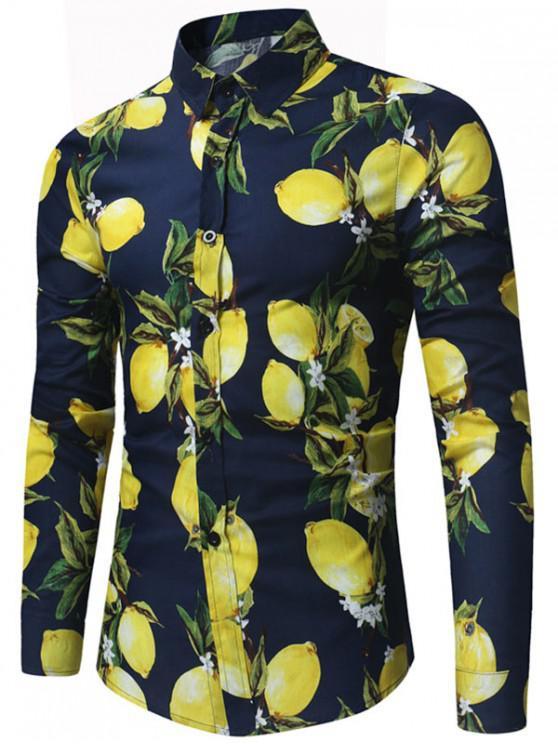 fashion Lemon Print Long Sleeve Shirt - PURPLISH BLUE M