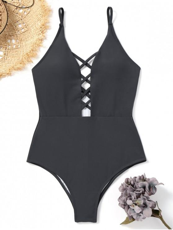 affordable Crisscross Strappy One Piece Swimsuit - CHARCOAL GRAY M