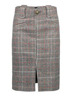 Vintage Plaid Skirt - Gray M