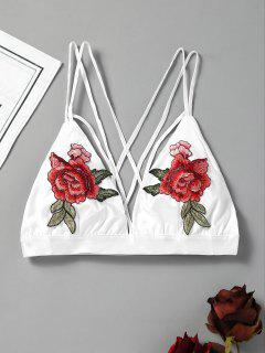 Embroidered Cutout Caged Bra Top - White M