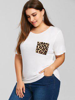 Camiseta Con Bolsillo De Lentejuelas Y Cuello Redondo - Blanco 4xl
