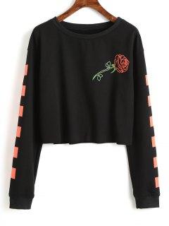 Contrasting Square Rose Cropped Sweatshirt - Black Xl