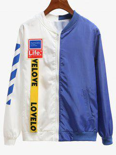 Two Tone Patched Windbreaker - Blue And White S
