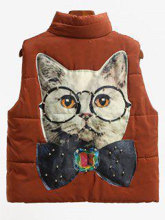 Beading Cat Patched Back Puffer Waistcoat - Dark Auburn Xl