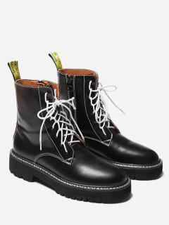 Lace Up Short Boots - Black 36