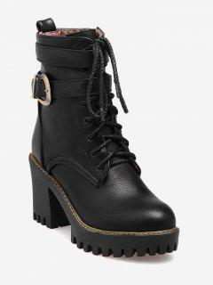 Buckle Wrap Platform Block Heel Ankle Boots - Black 42