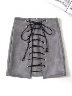 Lace Up Mini Faux Suede Skirt - Gray M