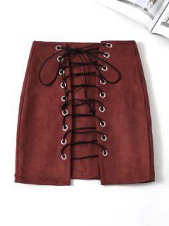 Lace Up Mini Faux Suede Skirt - Wine Red L