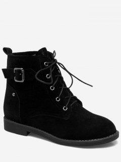 Tie Up Buckled Faux Suede Ankle Boots - Black 41