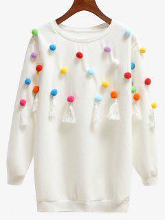 Tassels Pompoms Sweatshirt - White L