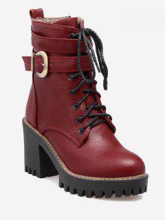 Buckle Wrap Platform Block Heel Ankle Boots - Red 36