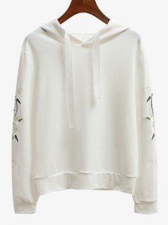 Floral Embroidered Patch Drawstring Hoodie - White L