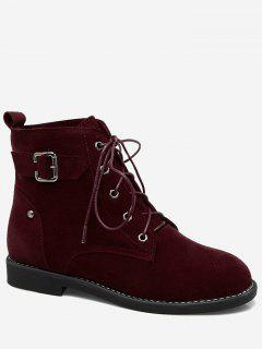 Tie Up Buckled Faux Suede Ankle Boots - Wine Red 39