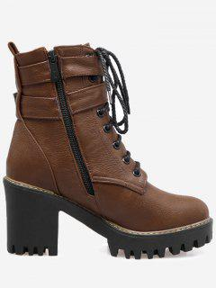 Buckle Wrap Platform Block Heel Ankle Boots - Deep Brown 38