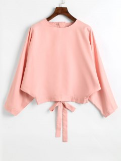 Bow Tied Back Cut Out Blouse - Pink S
