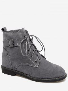 Tie Up Buckled Faux Suede Ankle Boots - Gray 36