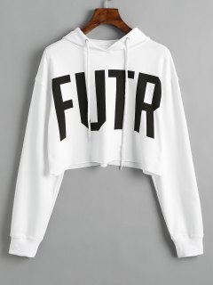 Sporty Letter Cropped Hoodie - White M