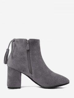 Side Zip Tassels Chunky Heel Ankle Boots - Gray 36