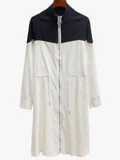 Zip Up Contrast Trench Coat - White 2xl