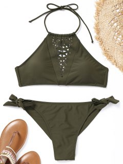 High Neck Laser Cut Bikini Set - Army Green L