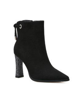 Shimmering Heel Point Toe Ankle Boots - Black 36